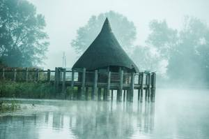 The Crannog as we waited for the mist to rise